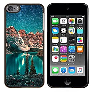 Jordan Colourful Shop - Lake Stars Night Teal Sky Alaska Winter For Apple iPod Touch 6 6th Generation Personalizado negro cubierta de la caja de pl????stico