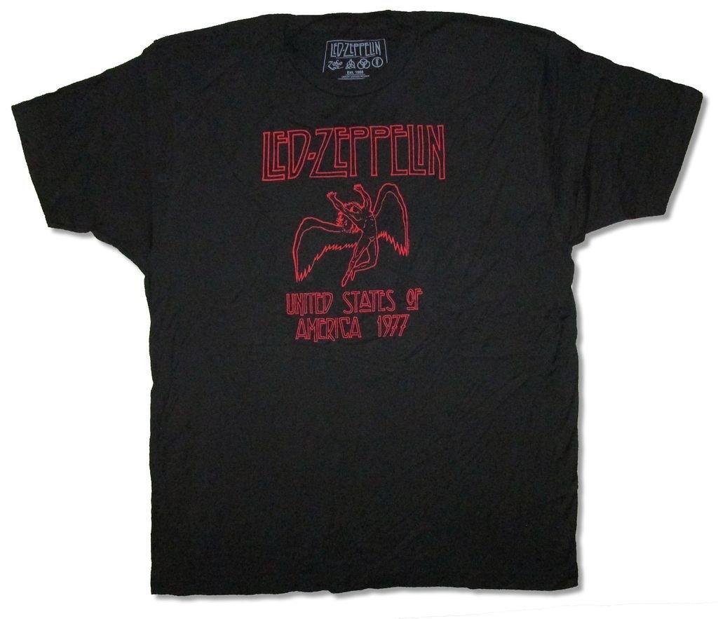 Led Zeppelin Usa 1977 Red Outline Swan Song Angel Black T Shirt