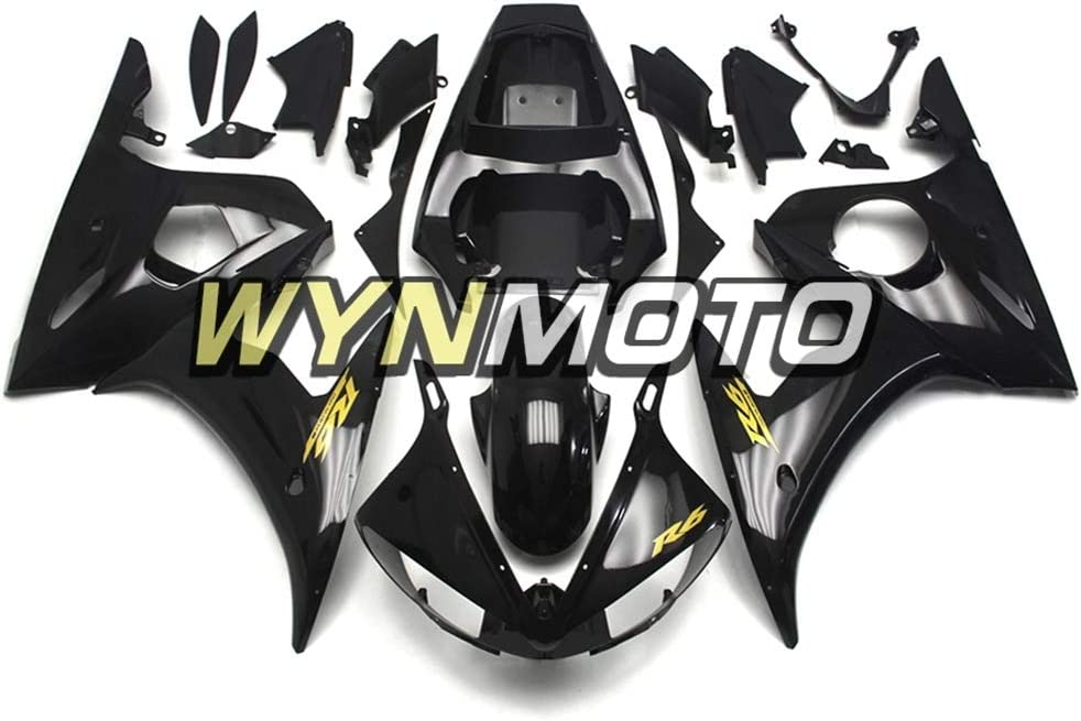 WYNMOTO ABS Injection Gloss Black Gold Decals Complete Motorcycle Fairings For Yamaha R6 YZF-R6 2003 2004 Cowlings