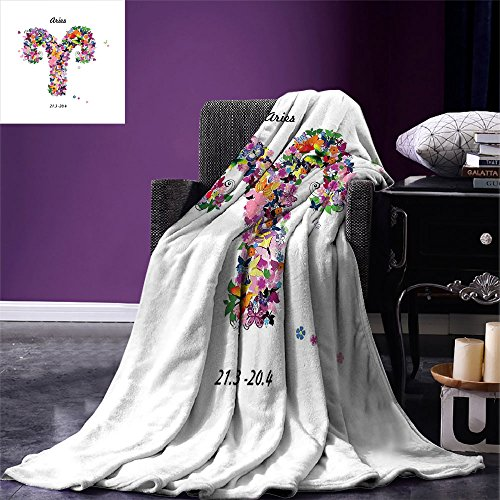 Fenlin Zodiac Aries Throw Blanket Lively Butterflies and Blooming Flowers as an Astrology Symbol Spring Inspired Warm Microfiber All Season Blanket for Bed or Couch Multicolor (King Couch Taylor)