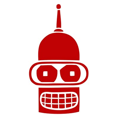 "MR.CI Bender Face Futurama Vinyl Decal Sticker|Cars Trucks Vans Walls Laptops Cups (red, 5.5""): Automotive"