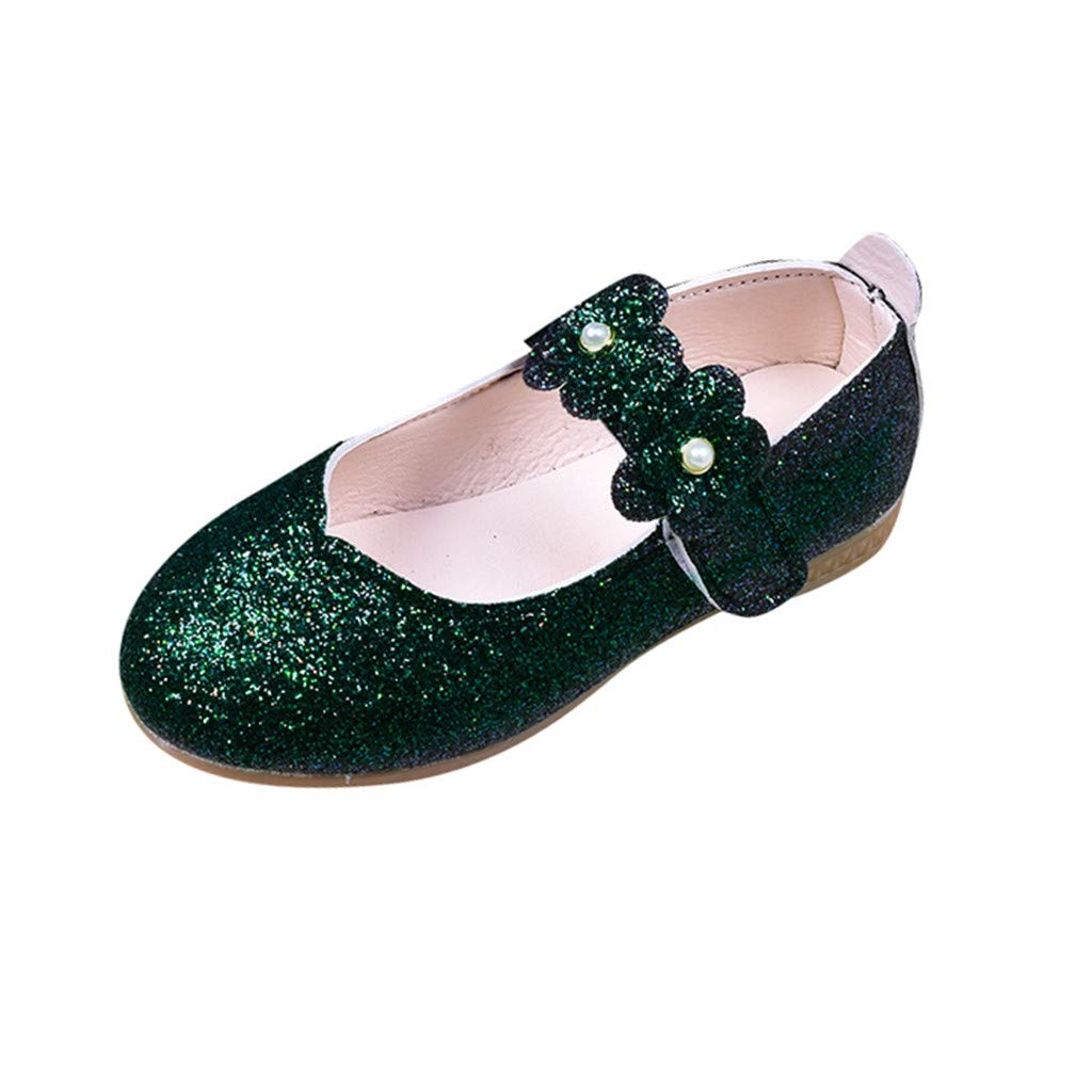 Princess Shoes for Toddler Girls Sequin Flat Shoes Sparkle Velcro Toddler Girls Dance Shoes Mary Jane Princess Party Dress Shoes for Toddlers & Girls