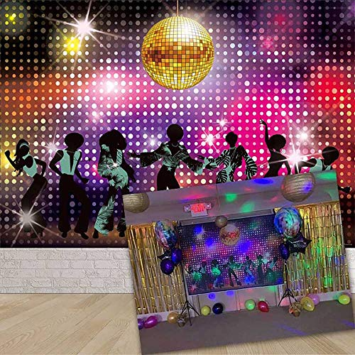 Allenjoy 7x5ft Vintage 70s 80s 90s Disco Dancers Backdrop for Party Let's Glow Crazy Shining Neon Night Adults Birthday Photography Background Cake Table Banner Photobooth Props -