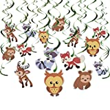 30-Count Swirl Decorations – Woodland Animals Decor Birthday Party Decorations, Ceiling Streamers, Hanging Whirls for Kids, Multicolored - Hanging Length: 30 – 37 Inches