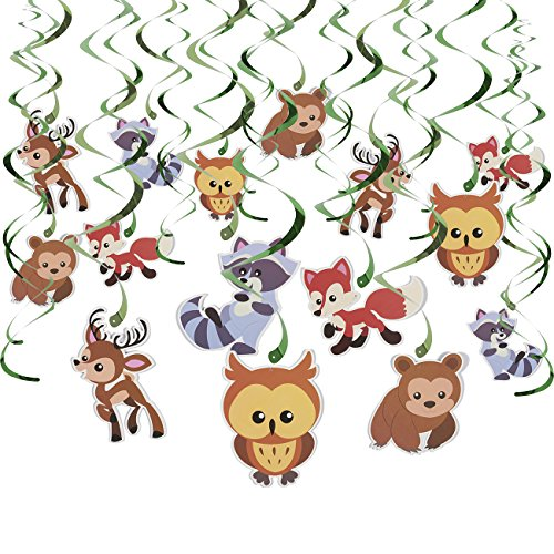(30-Count Swirl Decorations – Woodland Animals DecorBirthday Party Decorations, Ceiling Streamers, Hanging Whirls for Kids, Multicolored - Hanging Length: 30 – 37)