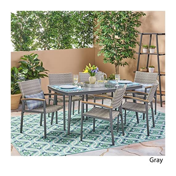 Christopher Knight Home Lily Outdoor Aluminum and Wicker 7 Piece Dining Set with Tempered Glass Top, Gray - The right dining set will transform your patio from simply being a part of your backyard to something much more meaningful. With a glossy, tempered glass surface and chairs so lavishly comfortable you'll forget you're sitting at the table for a meal, you'll find yourself losing track of the time you spend enjoying the company of those you cherish most in life. Includes: One (1) Table and Six (6) Chairs. Table Material: Tempered Glass. Table Leg Material: Rust-Proof Aluminum. Chair Material: Polyethylene Wicker. Chair Frame Material: Rust-Proof Aluminum. Chair Arm Material: Faux Wood. Table Wood Finish: Natural. Table Leg Finish: Gray. - patio-furniture, dining-sets-patio-funiture, patio - 61oEP5KWHIL. SS570  -