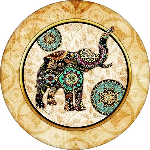 Tire Cover Central Asian Print Elephant Spare Tire Cover for 255/75R17 Jeep RV Camper Trailer(Drop Down Size menu Dan Morris(c)