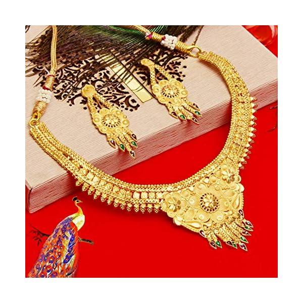61oEPABjMrL Mansiyaorange Brass Gold Plated Choker Necklace Set for Women (Multicolor)