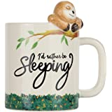 Lily's Home Rather Be Sleeping Lazy Sloth 3D Animal Mug. Ceramic Cup for Sloth Lovers.10 Oz.