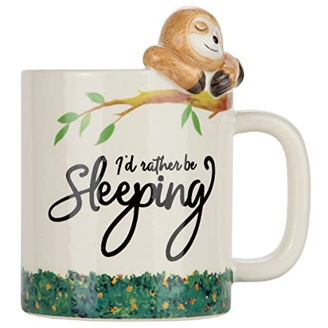 ac9beac669 Amazon.com: Lily's Home Rather Be Sleeping Lazy Sloth 3D Animal Mug.  Ceramic Cup for Sloth Lovers.10 Oz.: Kitchen & Dining