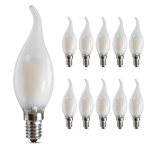 Bombillas LED E14 de 4 W, 2700 K, luz blanca cálida y suave, 400 lúmenes, rosca ...