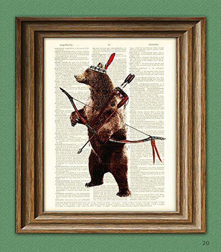 Standing Bear Indian Hunter with a Bow and Arrow dictionary page art print -