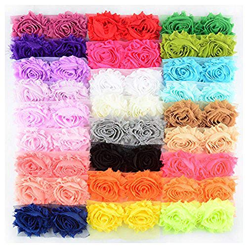 BERON 26 Pair 52pcs 2.5 Inch Chiffon Fabric Rose Flower Shabby Flowers Headband Flower, AIHB001 from BERON