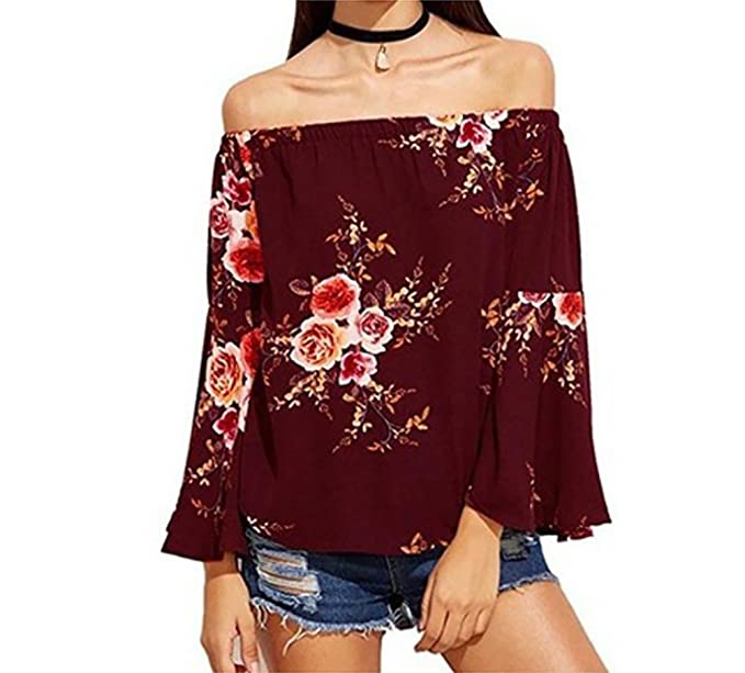 6b76e4a0a2c Amazon.com  Sweetichic Women s Casual Floral Off the Shoulder Bell Sleeve  Chiffon Blouse Shirt Tops  Clothing