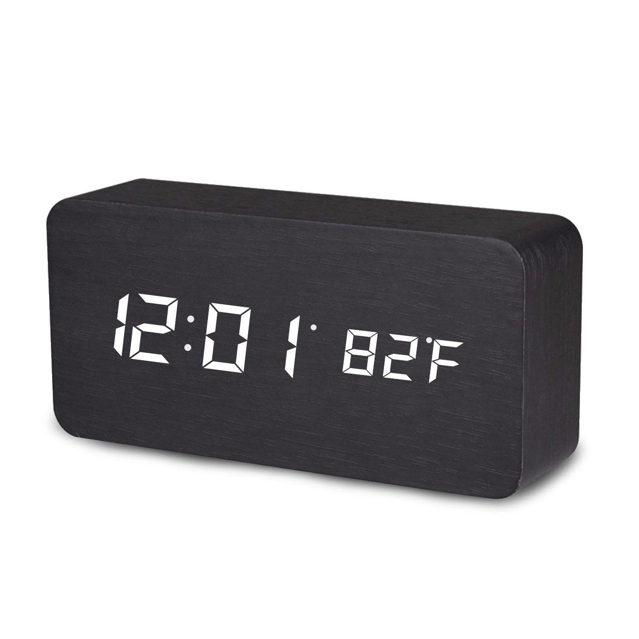 Digital Alarm Clock, Temperature Date LED Display Wood Grain Clock 3 Levels Brightness Voice Control Modern Simplicity Wood Digital Clock (Black) MiToo