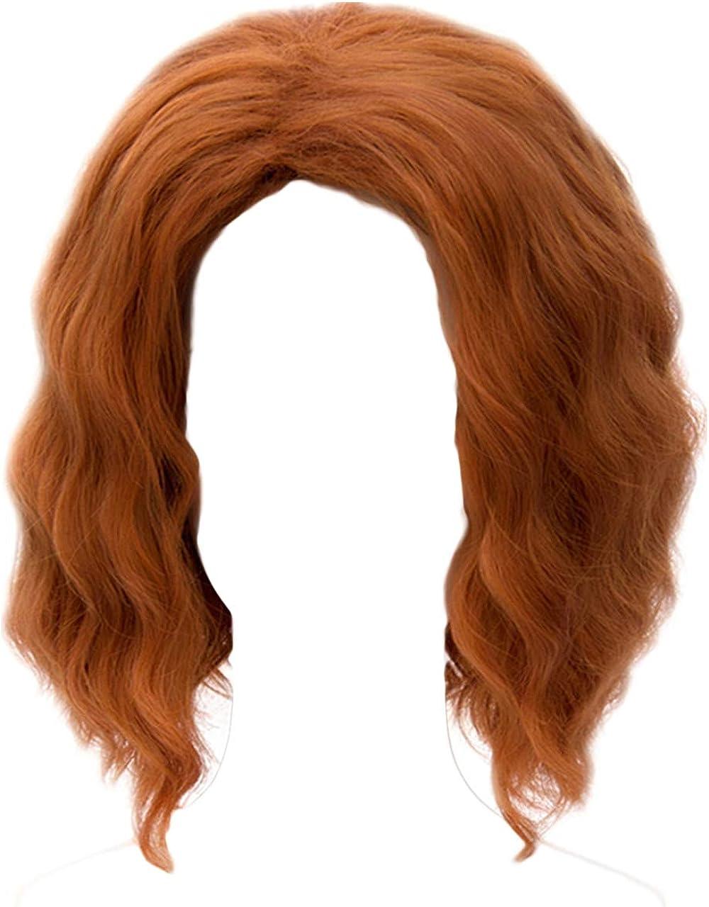 Curly Hair Cosplay Wig 30CM Dark Orange Anime for The Avengers Black Widow Short