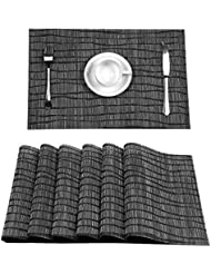 Topotdor Placemats set of 6 PVC Non-slip Insulation Stain-resistant vertical stripes Placemats for Home, Kitchen,Office and Outdoor (Set of 6, Black)
