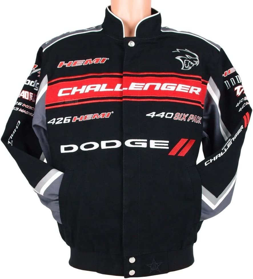 Dodge Challenger Collage Mens Black Twill Jacket by JH Design
