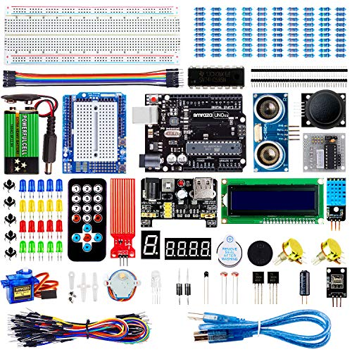 Smraza Super Starter Kit Project Kit with Breadboard, Power Supply, Jumper Wires, Resistors, LED, LCD 1602, Sensors, Detailed Tutorial for Project, Compatible with Arduino (Electronic Kits For Teens)