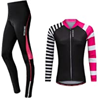 Baoblaze Women's Bike Outfit Set Long Sleeve Cycling Jersey and Gel Padded Tights Pants Comfortable Breathable…