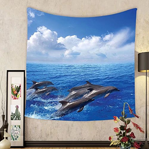 Gzhihine Custom tapestry Sea Animals Decor Tapestry Pattern With Sharks Swimming To Different Directions Monochromic Bedroom Living Room Dorm - Outlets To Directions Beach Palm