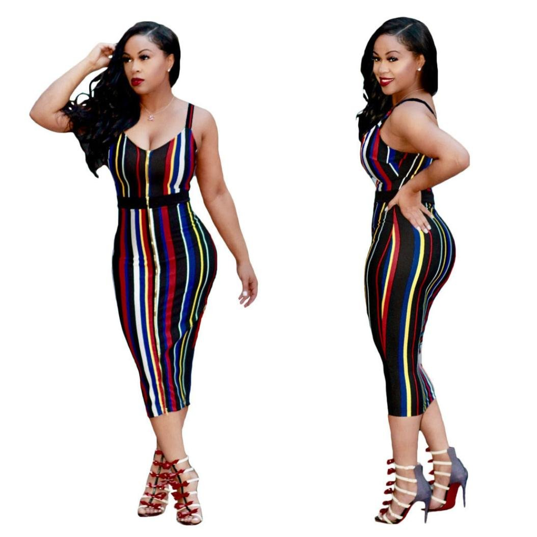 Sunward Women's Sexy Bodycon Strap Multi Colored Club Party Cocktail Mini Dress (L, Multicolor)