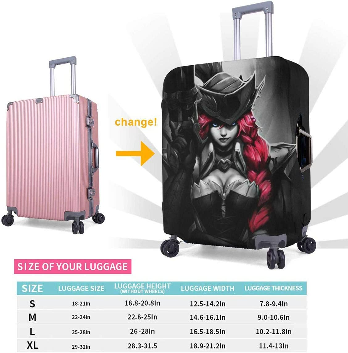 Travel Luggage Cover League Of Legends Miss Fortune Travel Luggage Cover Suitcase Protector Fits 26-28 Inch Washable Baggage Covers