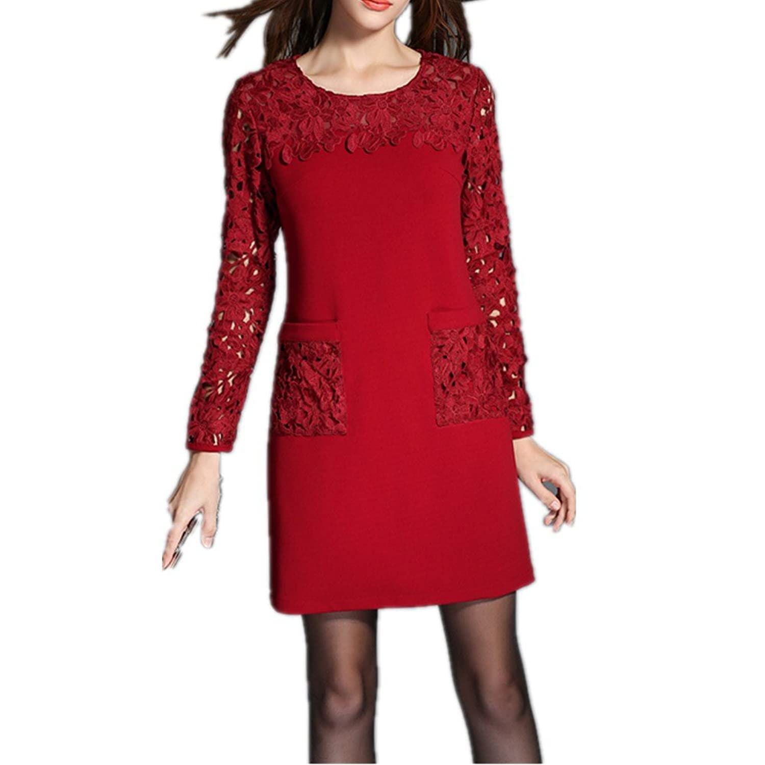 Generic Women's Oversized Embroidered Exquisite Pattern Dress Red Size M