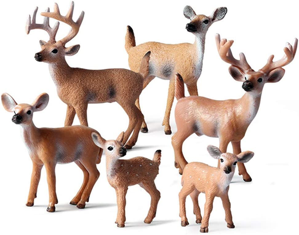 6 Pack Forest Animal Deer Figures Toy, Woodland Animal Figurine Cake Topper Party Supplies Home Christmas Buck Doe Fawn Decor for Baby Shower Birthday Wedding
