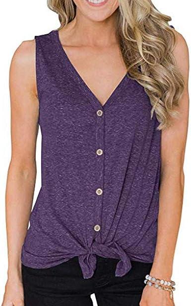 Chaleco Mujer, ZODOF Blusa para Mujer del Ocasionales Camisa, de algodón con Cuello en o Camiseta Empalme Sexy Tops Ropa Camiseta Tops Pullover Outwear: Amazon.es: Ropa y accesorios