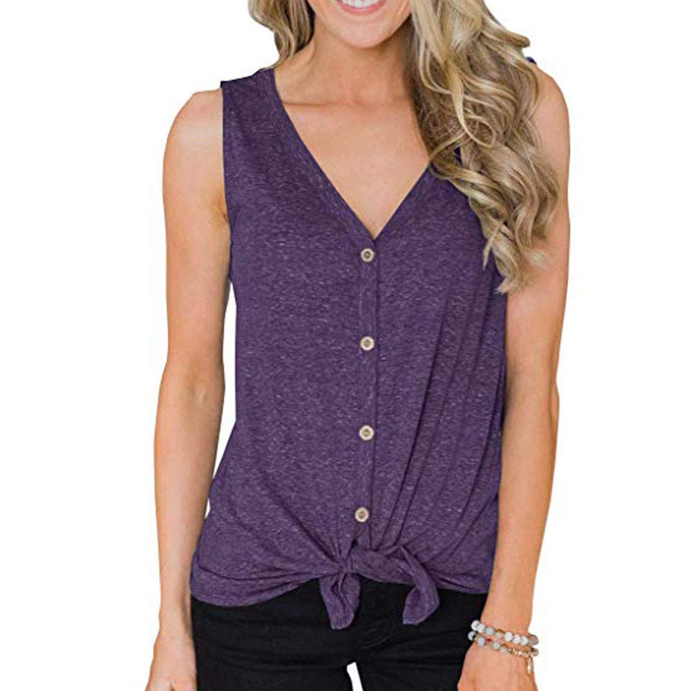 Fanteecy Womens Button Down Tank Tops Tie Knot Casual Knit Sleeveless Tunic Henley Shirts Summer V Neck Blouse
