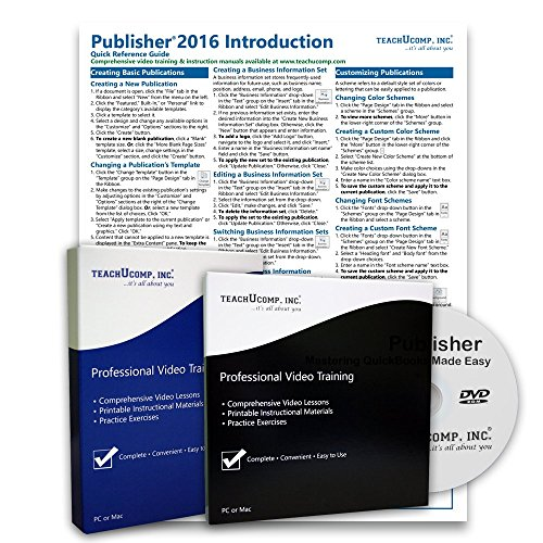 Learn Microsoft Publisher 2016 DELUXE Training Tutorial Package- Video Lessons, PDF Instruction Manuals, Laminated Quick Reference Guide, Testing Materials, and Certificate of Completion