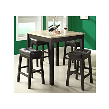 Monarch Specialties 5 Piece Faux Marble Counter Dining Set, Cappuccino/Beige