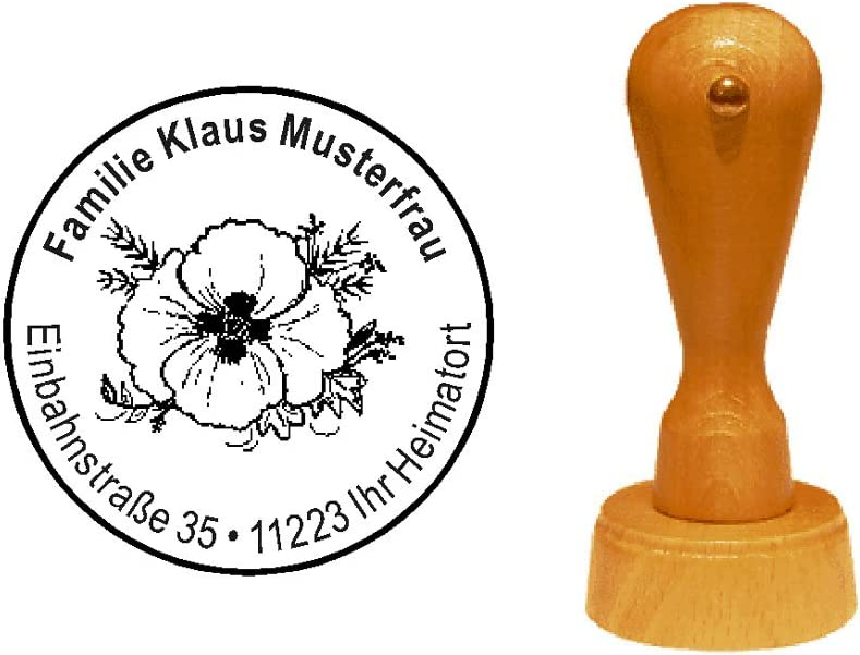 Stempel Holzstempel Motivstempel /« sch/öne BLUME /» mit pers/önlicher Adresse Natur Bl/ümchen Flora Fauna