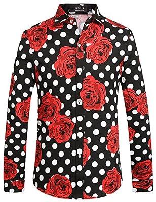 SSLR Men's Polka Dots Rose Hawaiian Vintage Cotton Floral Shirts