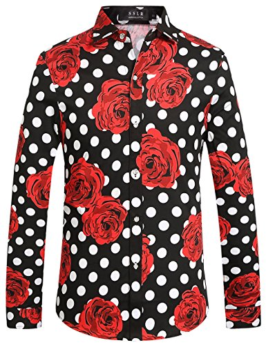 SSLR Men's Polka Dot Rose Button Down Long Sleeve Casual Hawaiian Shirt (Large, Black) (Dot Polka Floral)