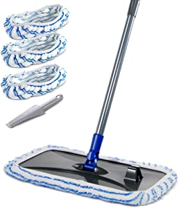 Large Surface Microfiber Flat Mop with 3 Pcs Reusable Mop Heads Cleaning Comb Scrapper and Telescopic Handle Household Mop for Hardwood Laminate Tile Ceramic Floor Cleaning