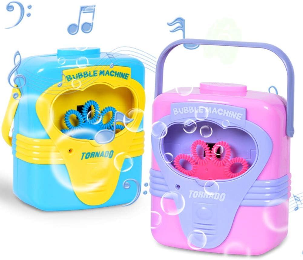 hefeibiaoduanjia Máquina Automática De Soplador De Burbujas De Música Juguete para Niños Al Aire Libre, Entrenamiento Perfecto Regalos De Inteligencia para Niños Púrpura Azul