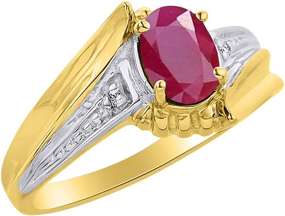 Color Stone Birthstone Ring Diamond /& Ruby Ring Set In Yellow Gold Plated Silver