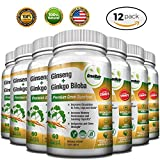 Panax Ginseng + Ginkgo Biloba Tablets – Premium non-GMO / Veggie Superfood – Traditional Energy Booster and Brain Sharpener – Unique Twin Supplement Combines Ginseng and Ginkgo Biloba (12 Pack)