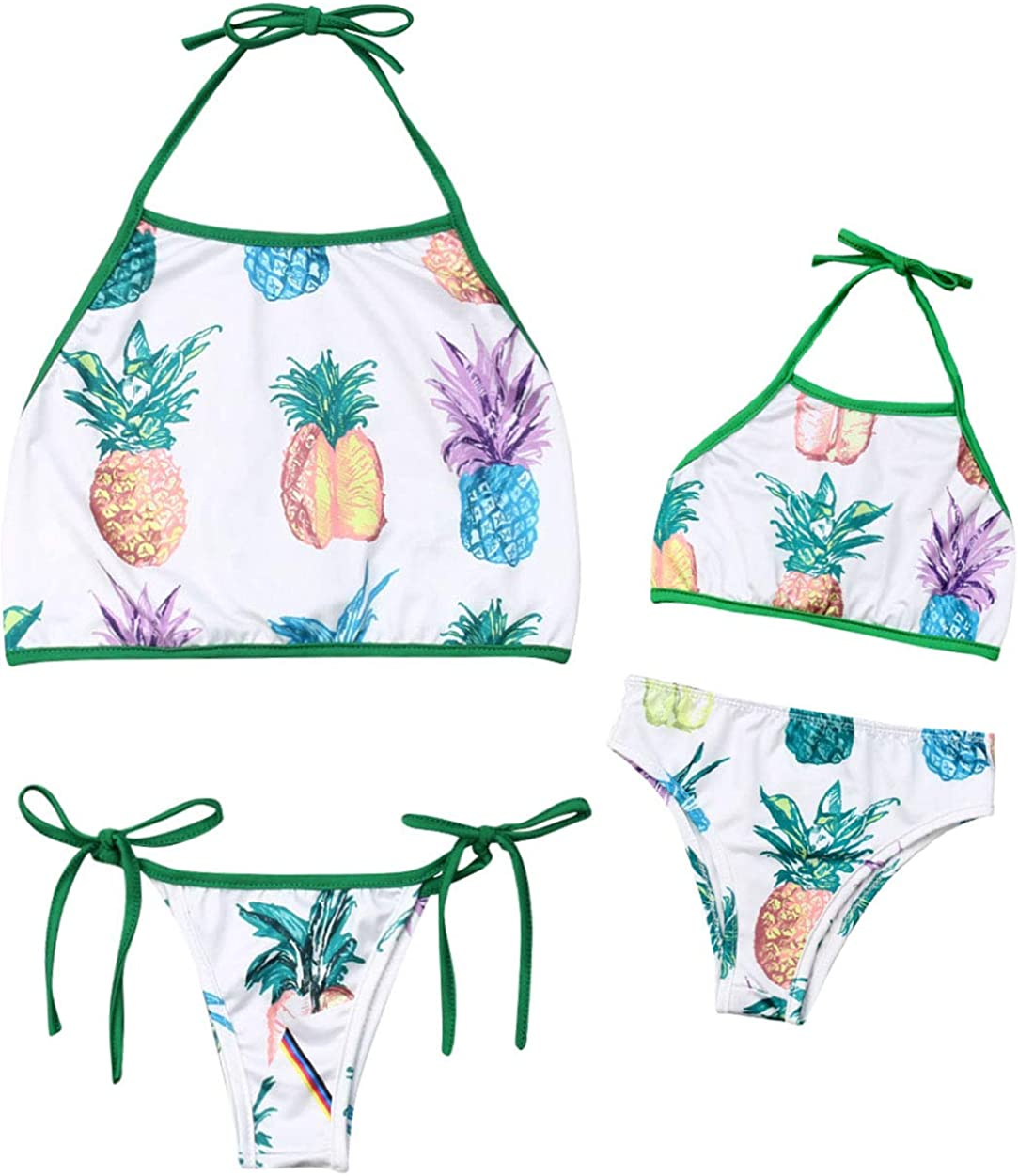 AMILIEe Family Matching Swimwear Mommy Daddy and Me Two Pieces Halter Bikini Swimsuit Floral Print 2019 Bathing Suit
