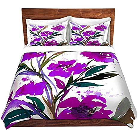 DiaNoche Designs Pocketful Posies Purple Cover Brushed Twill Twin Queen 8 King Duvet Sham Set