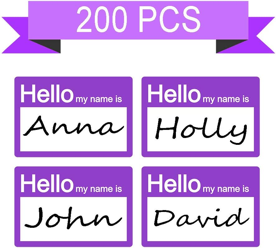 Events//Pack of 200 Professionals Employees Reunions SMAR 2 X 3 inch Hello My Name is Stickers//Name Tag Labels Great for Kids Purple Parties School