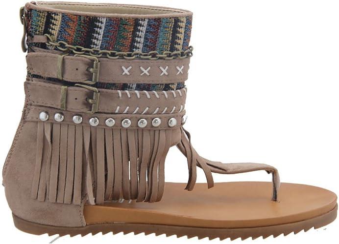Angesagte Hippie Indianer Sommer Sandale Damenschuhe Sandalette Zehentrenner Dianette Schaft Fransen Reißverschluss Schwarz, Camel, Khaki NEU V1596