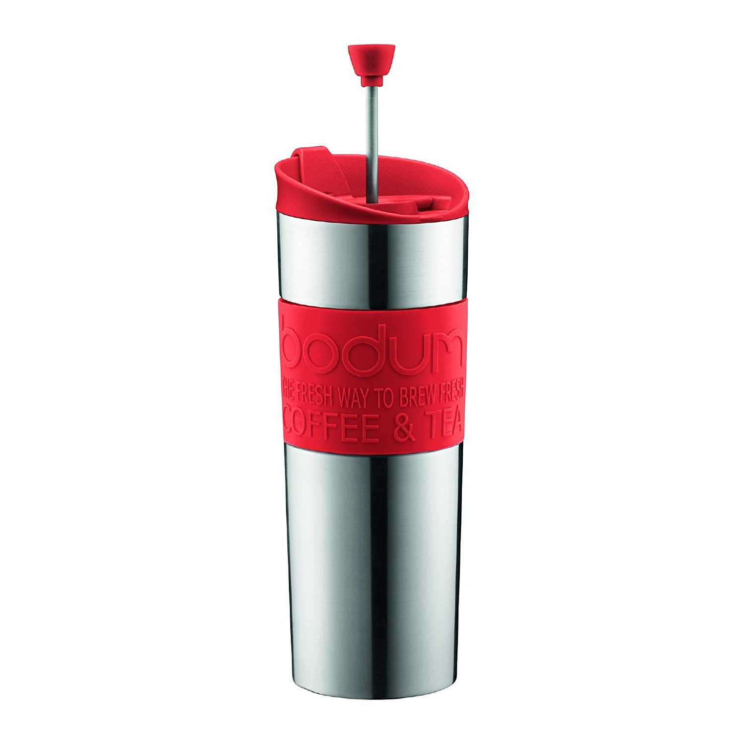 Bodum Travel Tea and Coffee Press, Stainless Steel Insulated Travel Mug (15 oz)