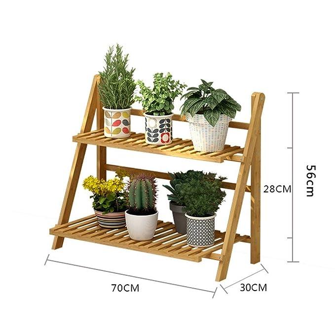 tama/ño: A-50cm multifunci/ón XHCP Udfybre Estante de Flores de bamb/ú de Dos Niveles Plegable Estante para macetas de Exterior//balc/ón