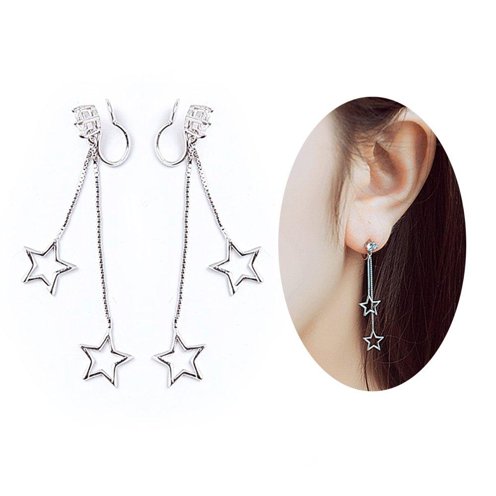Aifeer 925 Sterling Silver No Piercing Ear Cuffs CZ Stone Long Star Ear Drop Tassel Dangle Earrings