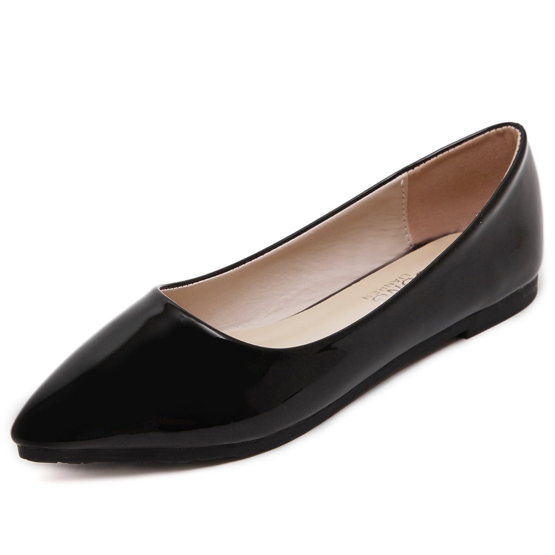 DYF Nude zapatos boca afilada de fondo plano superficial de patentes de metal de color sólido 40 EU|A A