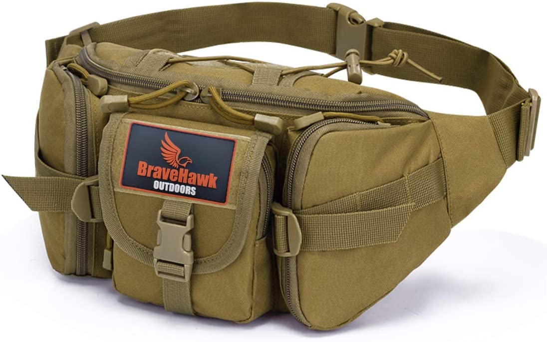BraveHawk OUTDOORS Tactical Waist Pack, 900D Nylon Oxford Military Portable Water Resistant Fanny Hip Bum Bag EDC Organizer Pouch for Outdoor Hiking Fishing Traveling
