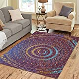 InterestPrint Indian Tribal Hippie Lotus Flower Mandala Polyester Area Rug Floor Mat 7' x 5', FeetBohemian Boho Batik Throw Rayon Fiber Carpet Rugs for Home Living Dining Room Decoration